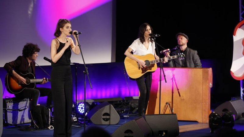 BERLIN, GERMANY - MARCH 21: Valeska Steiner, Sonja Glass, Deniz Erarslan and Taco van Hettinga of the band 'BOY' perform during the Deutscher Hoerfilmpreis at Kino International on March 21, 2017 in Berlin, Germany. (Photo by Franziska Krug/Getty Images)